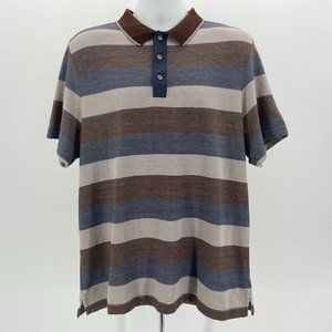 Tasso Elba Supima Multicolor Stripe Polo Shirt XL